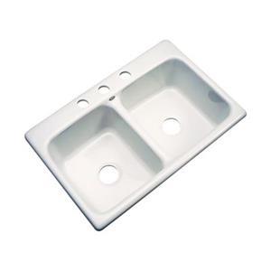 Dekor Westport 33-in x 22-in Biscuit Double Bowl Kitchen Sink