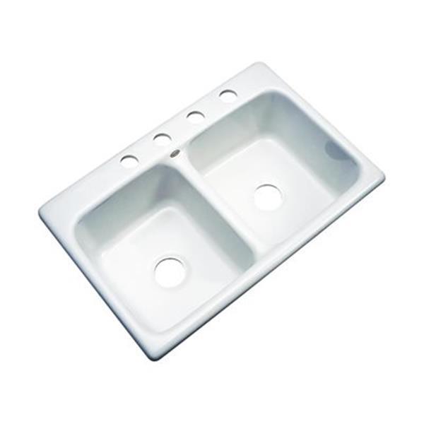 Dekor Westport 33-in x 22-in White Double Bowl Kitchen Sink
