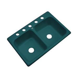 Dekor Westport 33-in x 22-in Teal Double Bowl Kitchen Sink