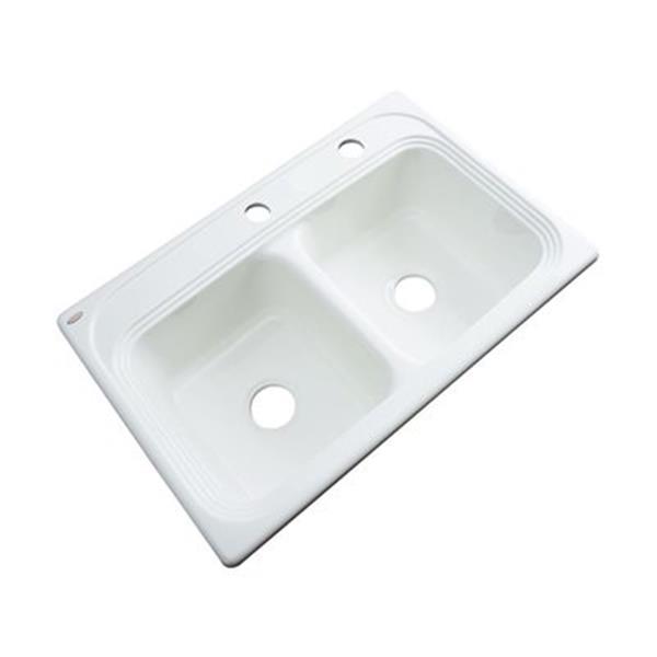 Dekor Chalmette 22-in x 33-in White Double Bowl Kitchen Sink