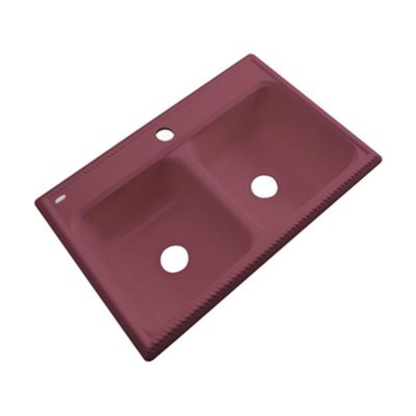 Dekor Nantucket 33-in x22-in Raspberry Puree Double Bowl Kitchen Sink