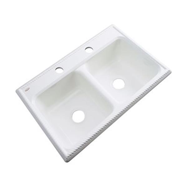 Dekor Nantucket 33-in x 22-in White Double Bowl Kitchen Sink