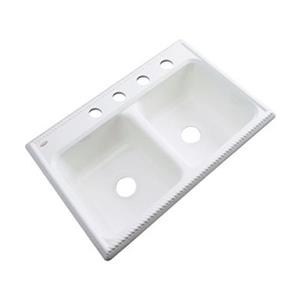 Dekor Nantucket 33-in x 22-in White Double Bowl Kitchen Sink