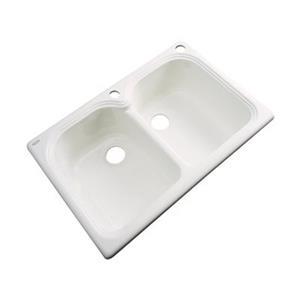 Dekor Waterford 33-in x 22-in Bone Double Bowl Kitchen Sink
