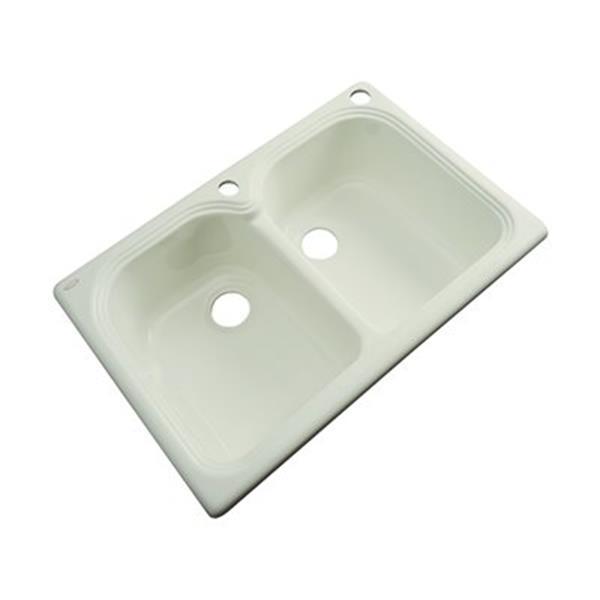 Dekor Waterford 33-in x 22-in Jersey Cream Double Bowl Kitchen Sink