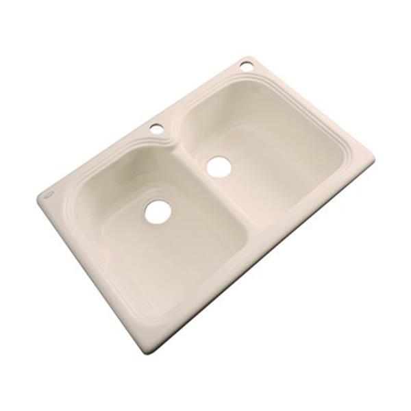 Dekor Waterford  33-in x 22-in Peach Bisque Double Bowl Kitchen Sink