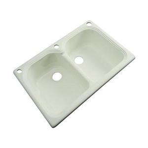 Dekor Waterford 22-in x 33-in Jersey Cream Double Bowl Kitchen Sink