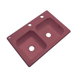 Dekor Ashfield 22-in x 33-in Raspberry Puree Double Bowl Kitchen Sink