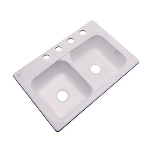 Dekor Ashfield 22-in x 33-in Innocent Blush Double Bowl Kitchen Sink