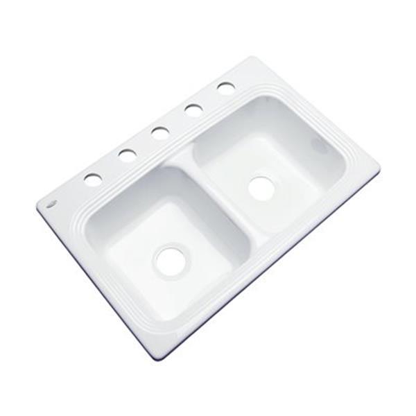 Dekor Ashfield 22-in x 33-in White Double Bowl Kitchen Sink