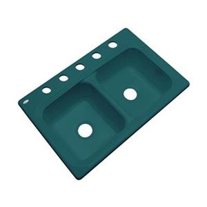 Dekor Ashfield 22-in x 33-in Teal Double Bowl Kitchen Sink