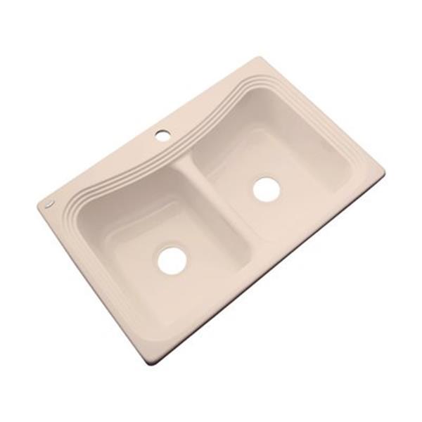 Dekor Alliston 22-in x 33-in Peach Bisque Double Bowl Kitchen Sink