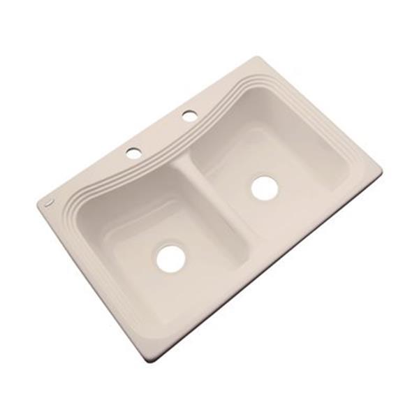 Dekor Alliston 22-in x 33-in Candlelyght Double Bowl Kitchen Sink