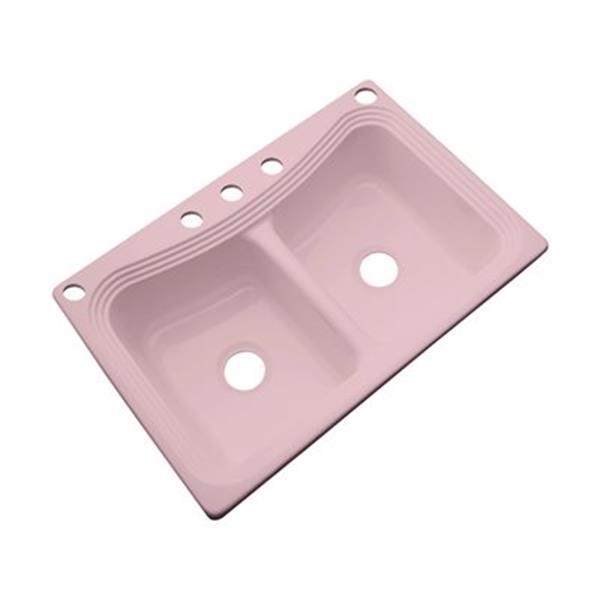 Dekor Alliston 22-in x 33-in Dusty Rose Double Bowl Kitchen Sink