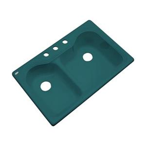 Dekor Buckingham 22-in x 33-in Teal Double Bowl Kitchen Sink