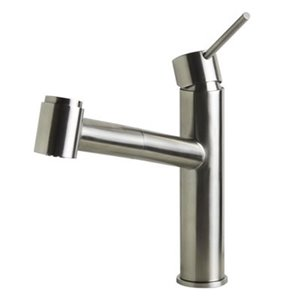 ALFI Brand 9.12-in Stainless Steel Kitchen Faucet with Pull Out Sprayer