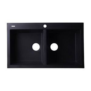 ALFI Brand 34-in Black Undermount Double Bowl Kitchen Sink
