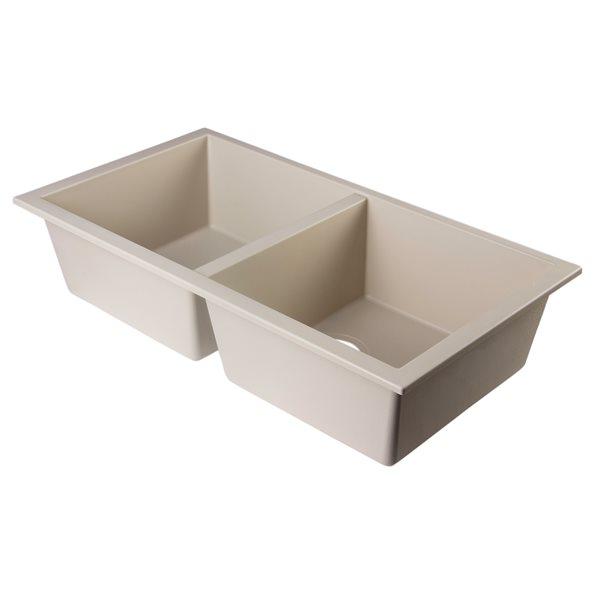 ALFI Brand 34-in Biscuit Undermount Double Bowl Kitchen Sink