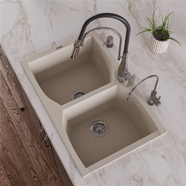 ALFI Brand 32-in Biscuit Drop-In Double Bowl Kitchen Sink