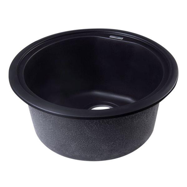 ALFI Brand 17-in Black Undermount Round Granite Composite Kitchen Prep Sink