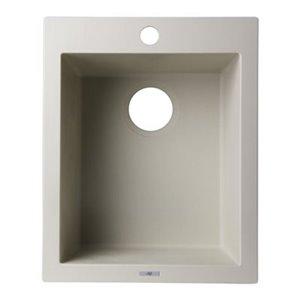 ALFI Brand 17-in Biscuit Drop-In Rectangular Granite Composite Kitchen Prep Sink