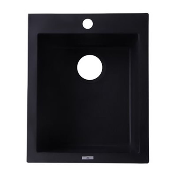 ALFI Brand 17-in Black Undermount Rectangular Granite Composite Kitchen Prep Sink