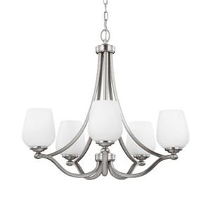 Feiss Vintner Satin Nickel 5-Light Chandelier.