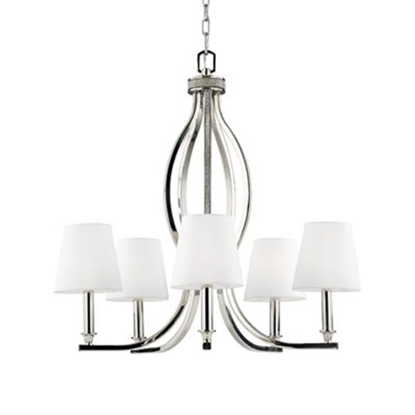 Feiss Pave Polished Nickel 5-Light Chandelier