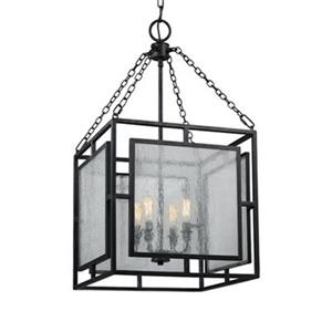 Feiss Prairielands Dark Weathered Zinc 4-Light Chandelier.