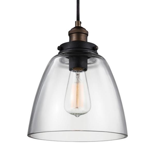 Feiss Baskin Brass/Zinc Dome Pendant Light