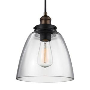 Feiss Baskin Brass/Zinc Dome Pendant Light.
