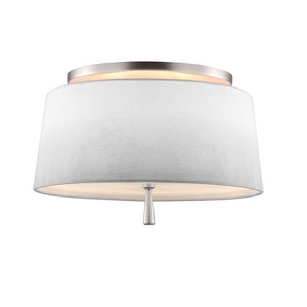Feiss Tori 9.37-in x 14-in Satin Nickel 2-Light Semi-Flush Ceiling Light