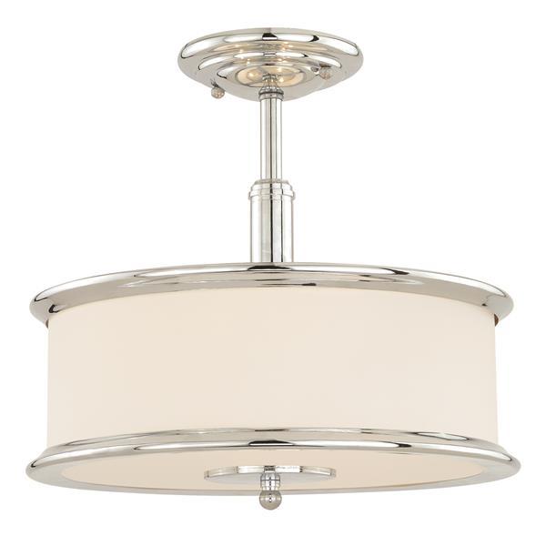 Cascadia Carlisle 3-Light Chrome Drum Semi Flush Ceiling Light