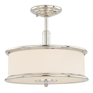 Cascadia Carlisle 3-Light Chrome Drum Semi Flush Ceiling Light