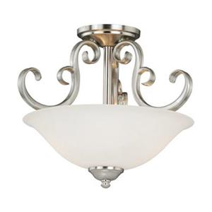 Cascadia Lighting Belleville 11.5-in x 14-in Satin Nickel 2-Light Semi-Flush Mount Light