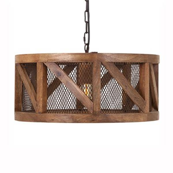 IMAX Worldwide Kennedy Wood and Wire Brown Pendant Light