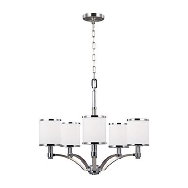 Feiss Prospect Park 5-Light Satin Nickel/Chrome Chandelier