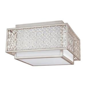 Feiss Kenney 8.25-in x 14.5-in Sunrise Silver 2-Light Flush Mount Ceiling Light.