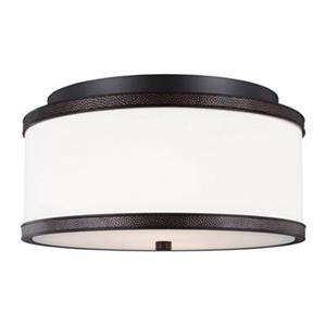 Feiss Marteau Oil Rubbed Bronze 2-Light Flush Mount Ceiling-Light.