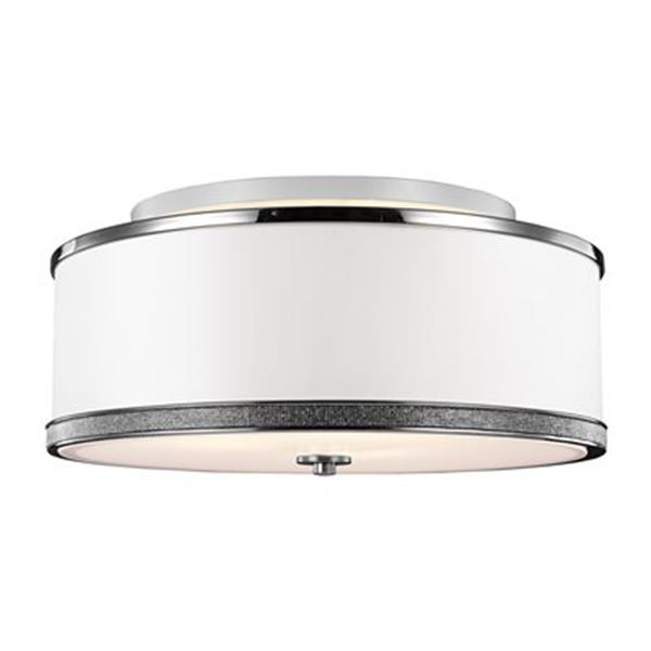 Feiss Pave 9.62-in x 20-in Polished Nickel 3-Light Semi-Flush Mount Ceiling Light