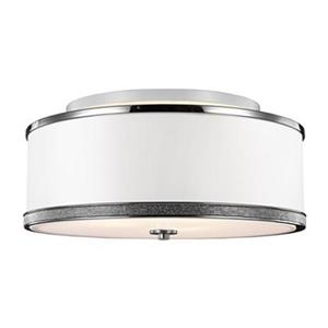 Feiss Pave 9.62-in x 20-in Polished Nickel 3-Light Semi-Flush Mount Ceiling Light.