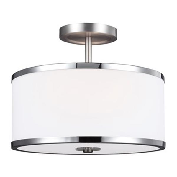 Feiss Prospect Park 10.25-in x 12.75-in Satin Nickel And Chrome 2-Light Semi-Flush Mount Ceiling Light