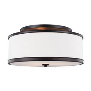 Feiss Marteau 9.62-in x 20-in Oil Rubbed Bronze 3-Light Semi-Flush Mount Light