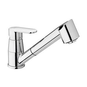 WS Bath Collections 8.10-in Chrome Kitchen Faucet with Swivel Spout