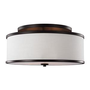 Feiss Lennon 9.5-in x 20-in Oil Rubbed Bronze 3-Light Semi-Flush Mount Ceiling Light.