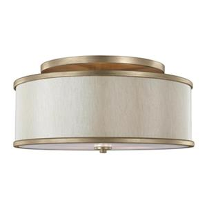 Feiss Lennon 9.5-in x 20-in Sunset Gold 3-Light Semi-Flush Mount Ceiling Light