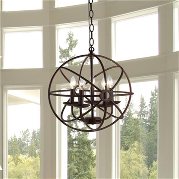 Warehouse of Tiffany Theo 5-Light Chandelier - Rust