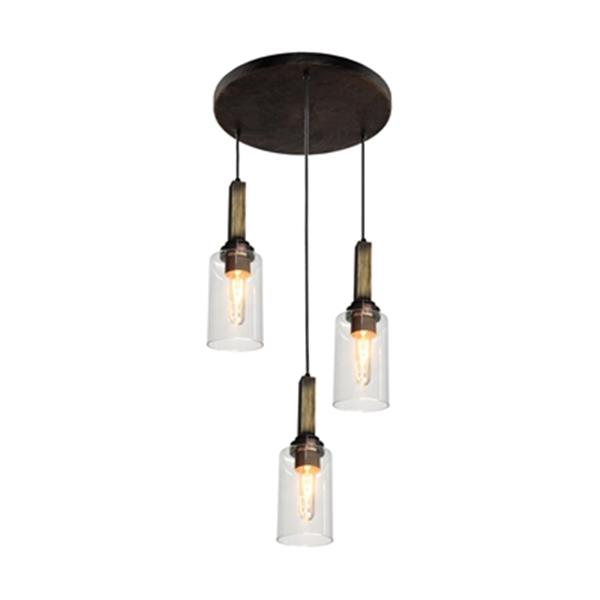 Artcraft Lighting Home Glow Collection 10-in x 17-in Distressed Pine Cylinder 3-Light Pendant Light