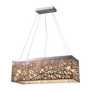 Warehouse of Tiffany 10-in x 26-in Chrome Layla Rectangular 8-Light Pendant Light