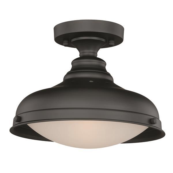 Cascadia Keenan Bronze Farmhouse Barn Dome Semi Flush Ceiling Light